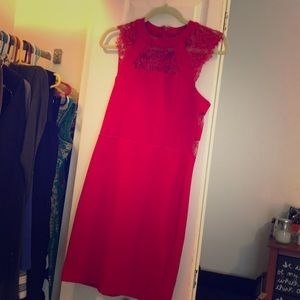 Lacey inset red fitted dress